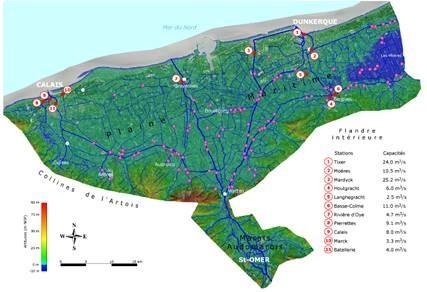 Xylem - Carte du territoire des Wateringues situé en Flandre maritime